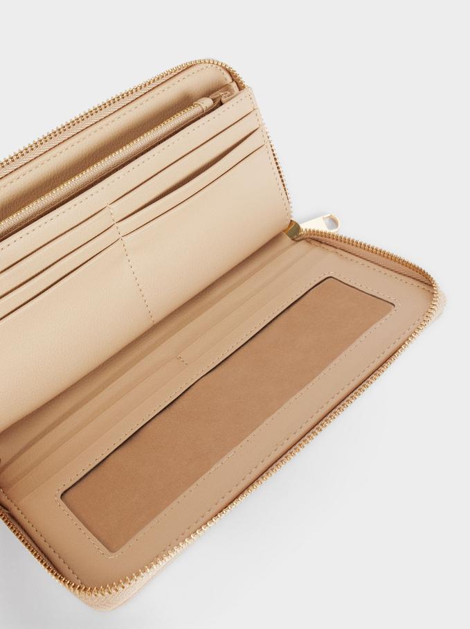 Embossed Wallet With Handle, Beige, hi-res