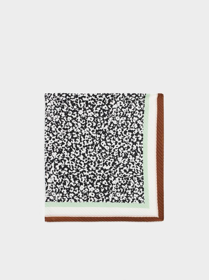 Printed Square Neckerchief, Black, hi-res