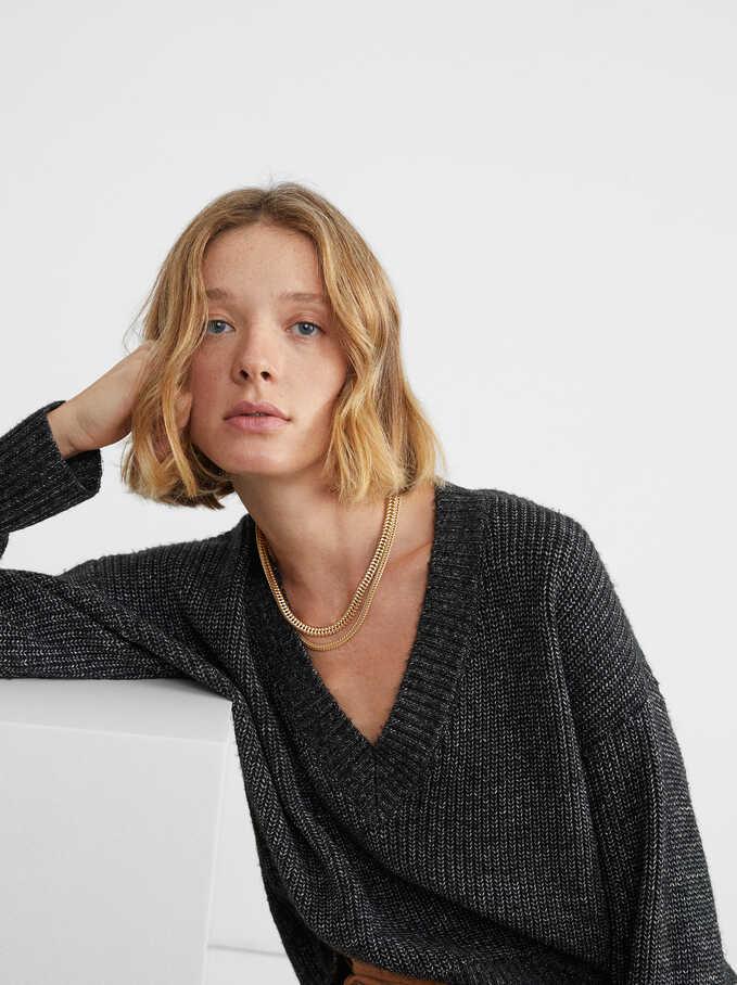 V-Neck Knit Sweater, Black, hi-res