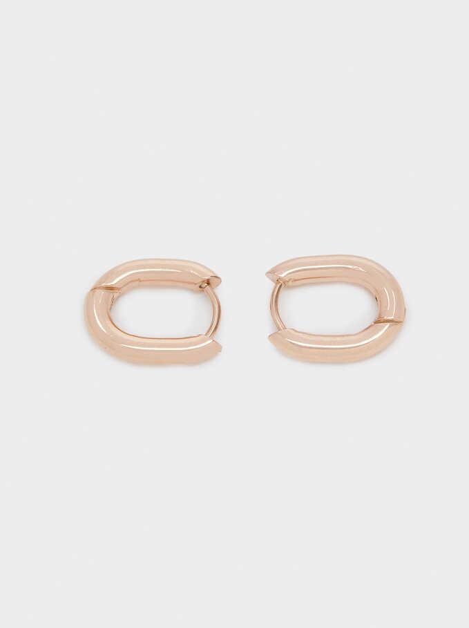 Rose Gold Stainless Steel Small Hoop Earrings, Orange, hi-res
