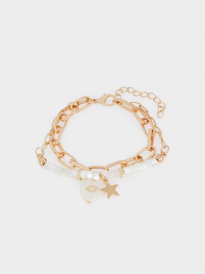 Contrast Star And Heart Bracelet, Golden, hi-res
