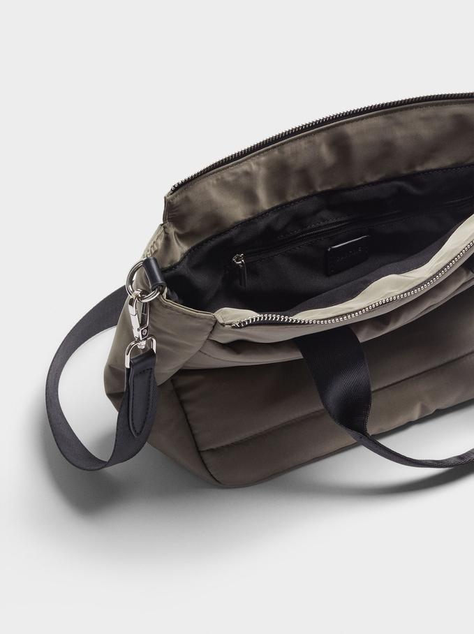 Quilted Nylon Tote Bag, Khaki, hi-res