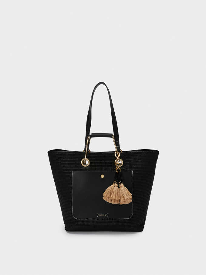 Contrast Shopper Bag With Tassel Details, Black, hi-res
