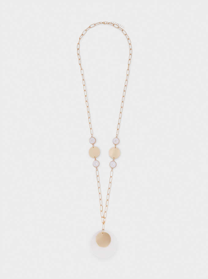 Long Necklace With Shell Pendant, Golden, hi-res