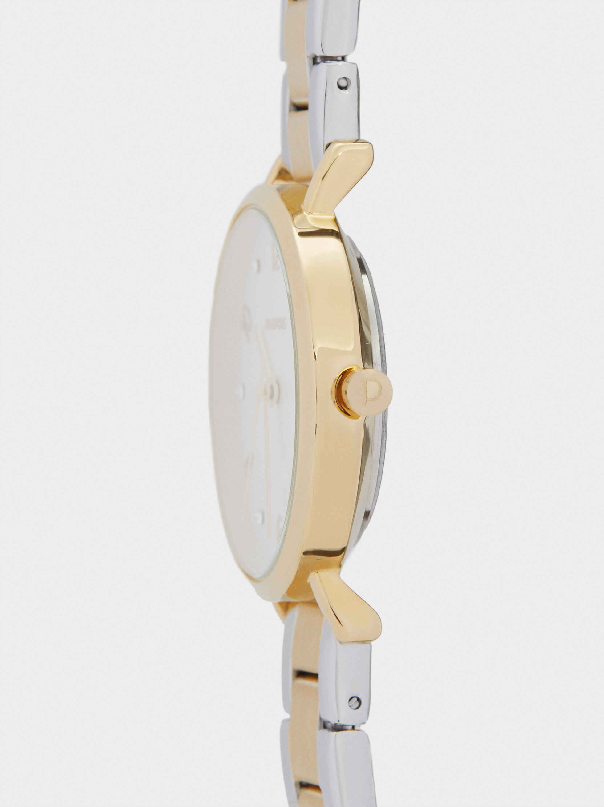 Watch With Two-Tone Strap, Golden, hi-res