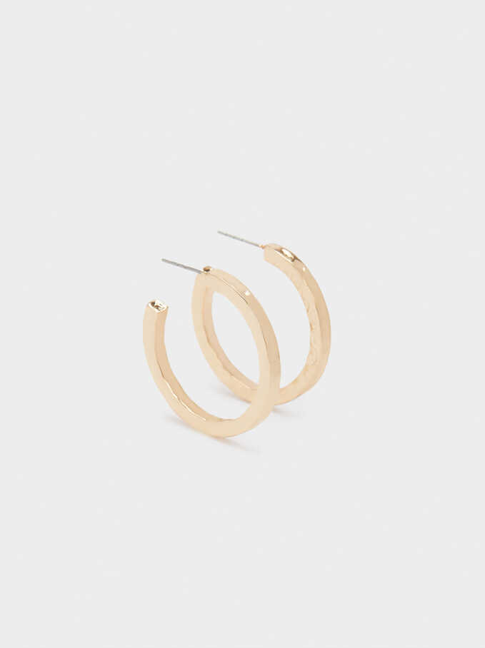 Medium Gold Hoop Earrings, Golden, hi-res
