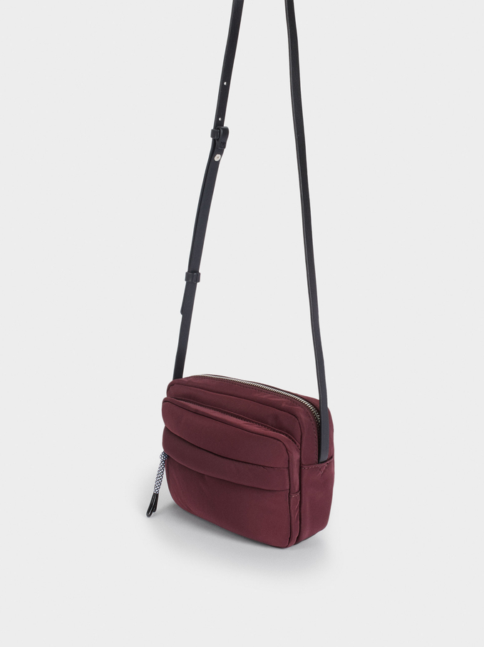 Nylon Crossbody Bag With String, Bordeaux, hi-res