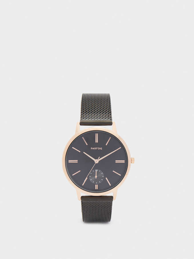 Reloj Correa De Malla Metálica De Acero, Negro, hi-res