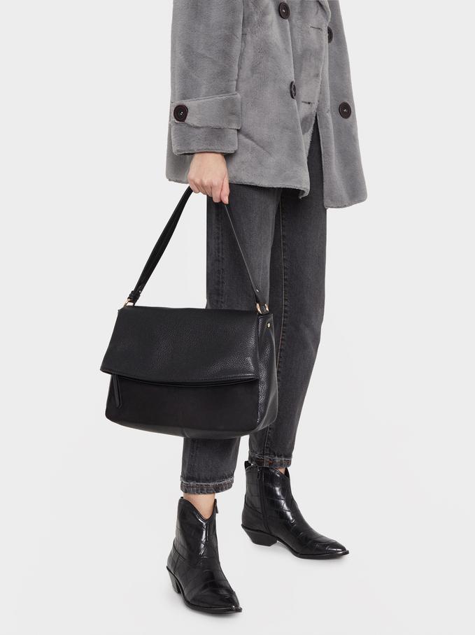 Shoulder Bag With Contrast Front Flap, Black, hi-res