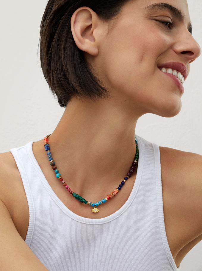 Collier Court En Acier Perles Fantaisie, Multicolore, hi-res