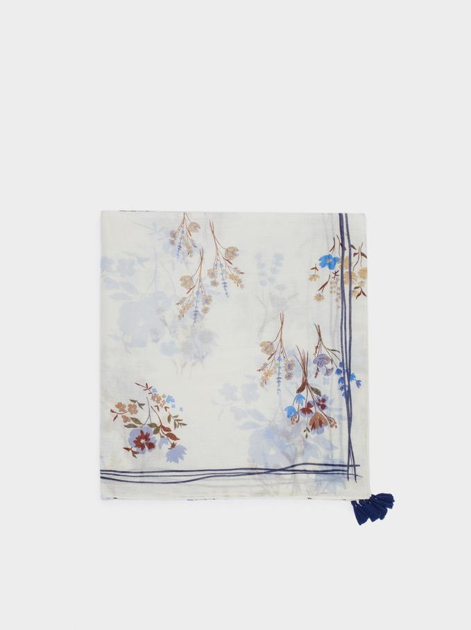 Apaszka Z Nadrukiem W Kwiaty, Niebieski, hi-res