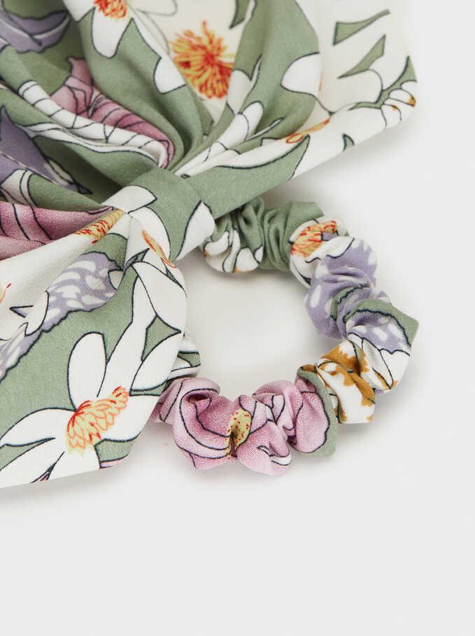 Floral Print Hair Elastic, Multicolor, hi-res