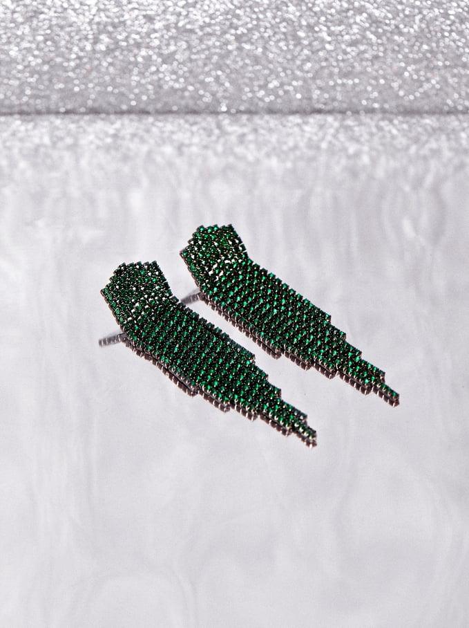Boucles D'Oreilles Longues Avec Cristaux Multicolores, Vert, hi-res