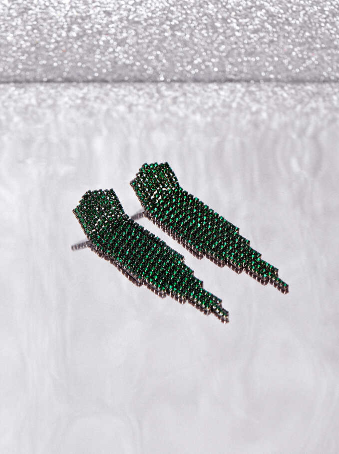 Long Earrings With Multicoloured Crystals, Green, hi-res
