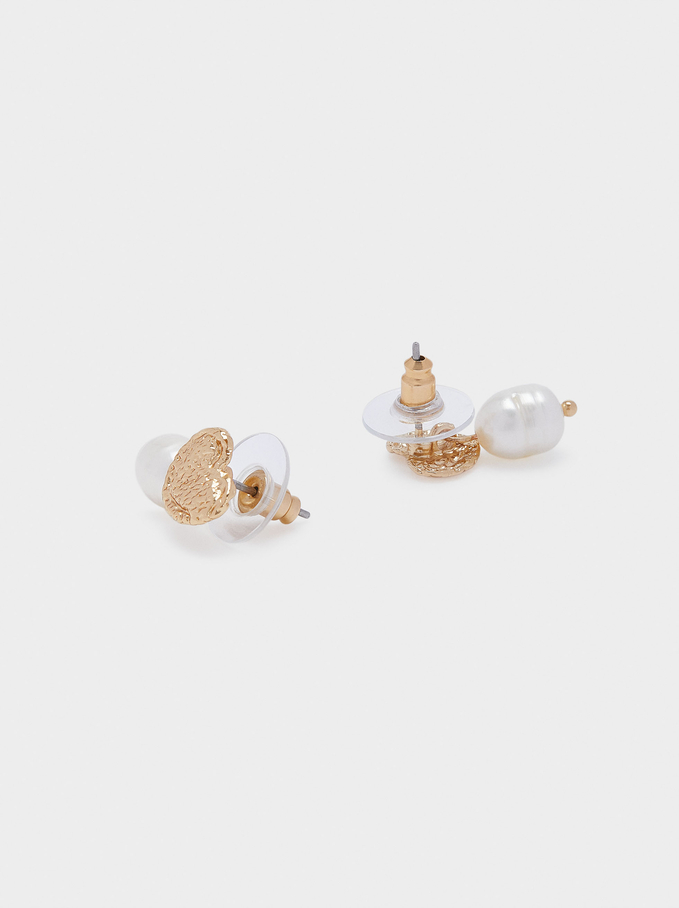 Short Earrings With Pearl And Heart, Golden, hi-res