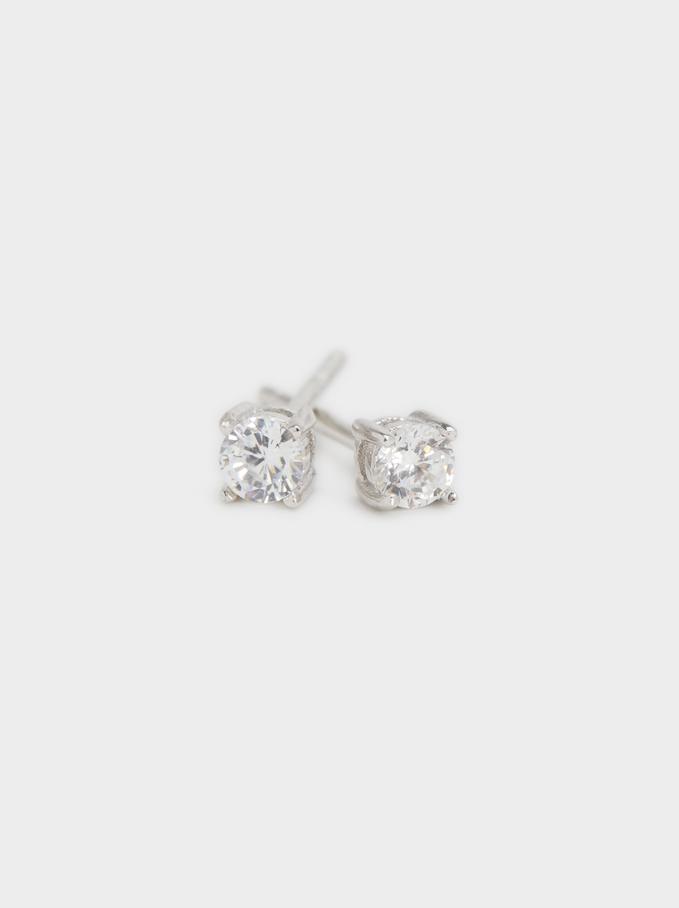 925 Sterling Silver Short Earrings, Silver, hi-res