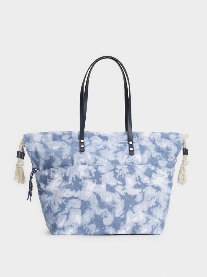 Bolso Shopper Estampado Tie Dye, Azul, hi-res