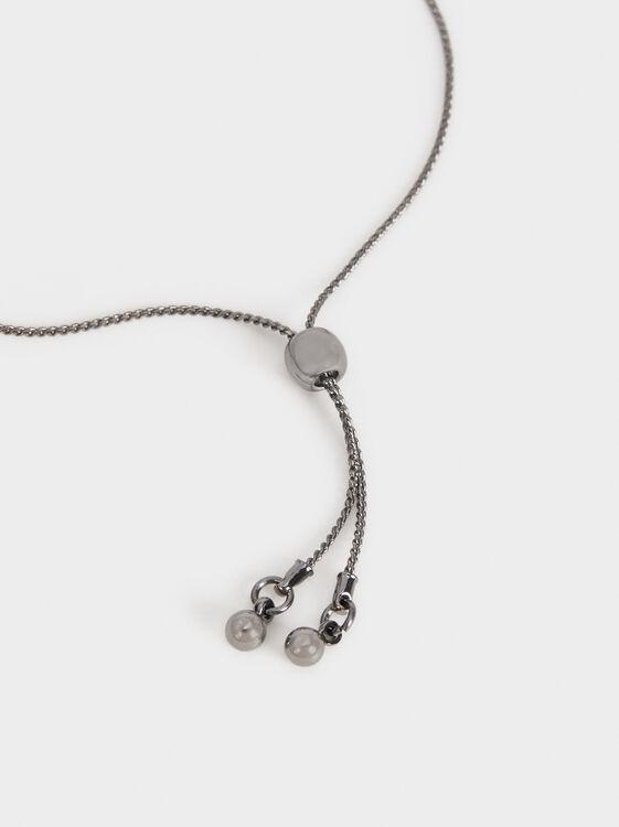 Botanical Party Adjustable Bracelet, Black, hi-res