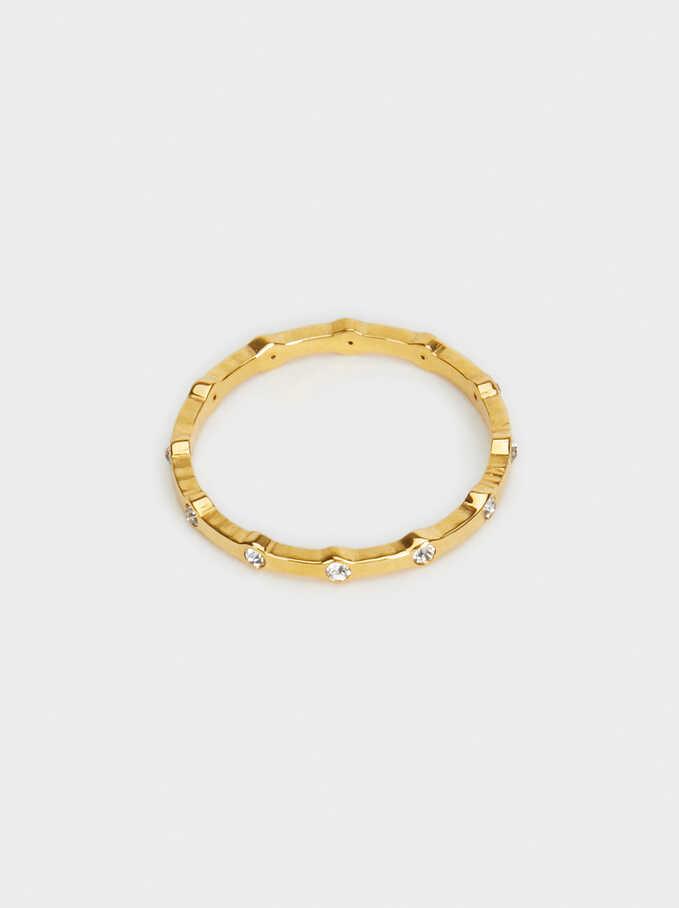 Stainless Steel Ring, Golden, hi-res