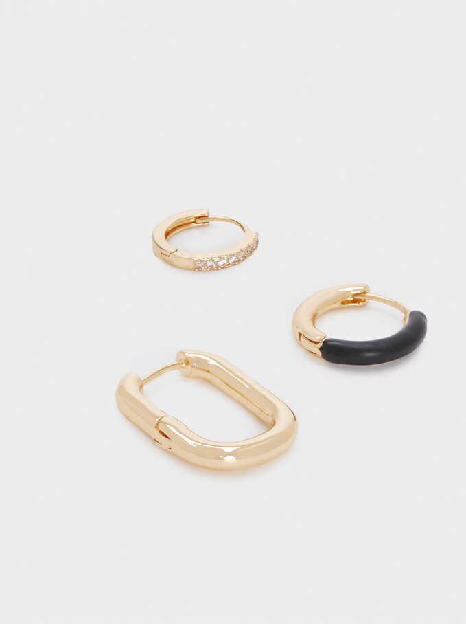 Set Of Hoop Earrings With Crystals, Black, hi-res