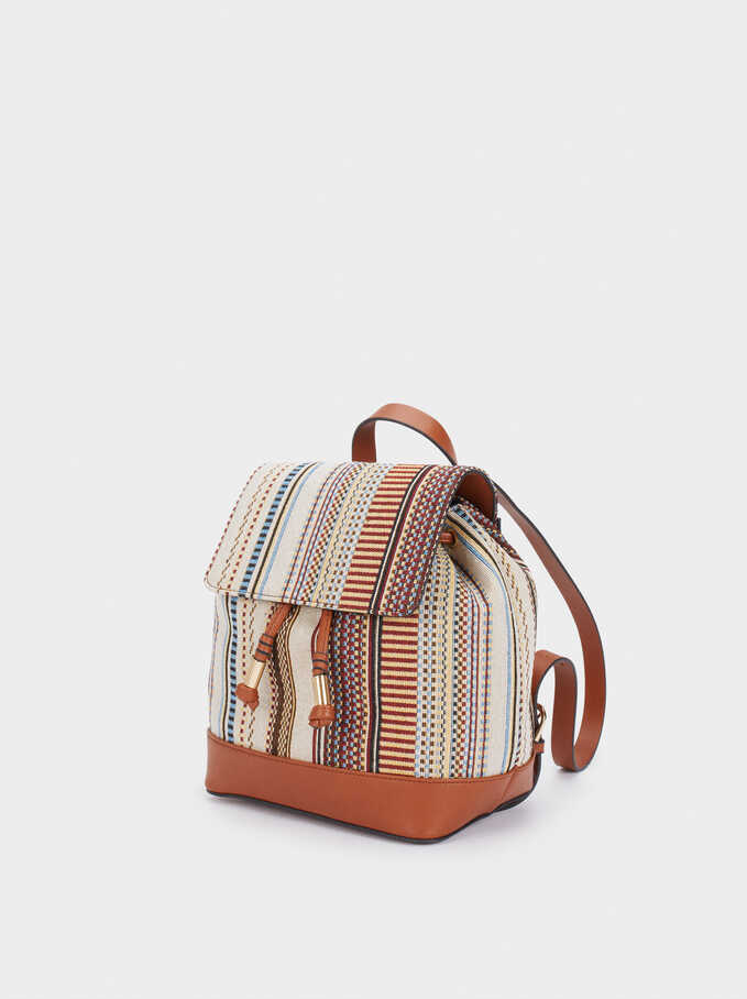 Multi-Coloured Fabric Backpack, Camel, hi-res
