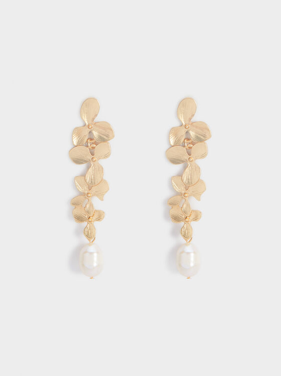 Long Faux Pearl Earrings, , hi-res