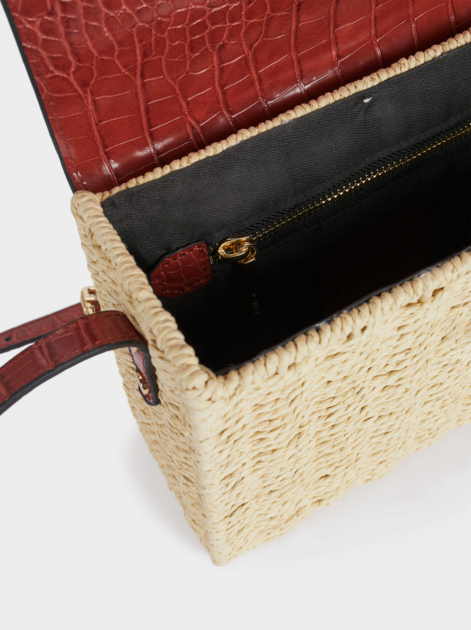 Raffia Textured Crossbody Bag, Brick Red, hi-res