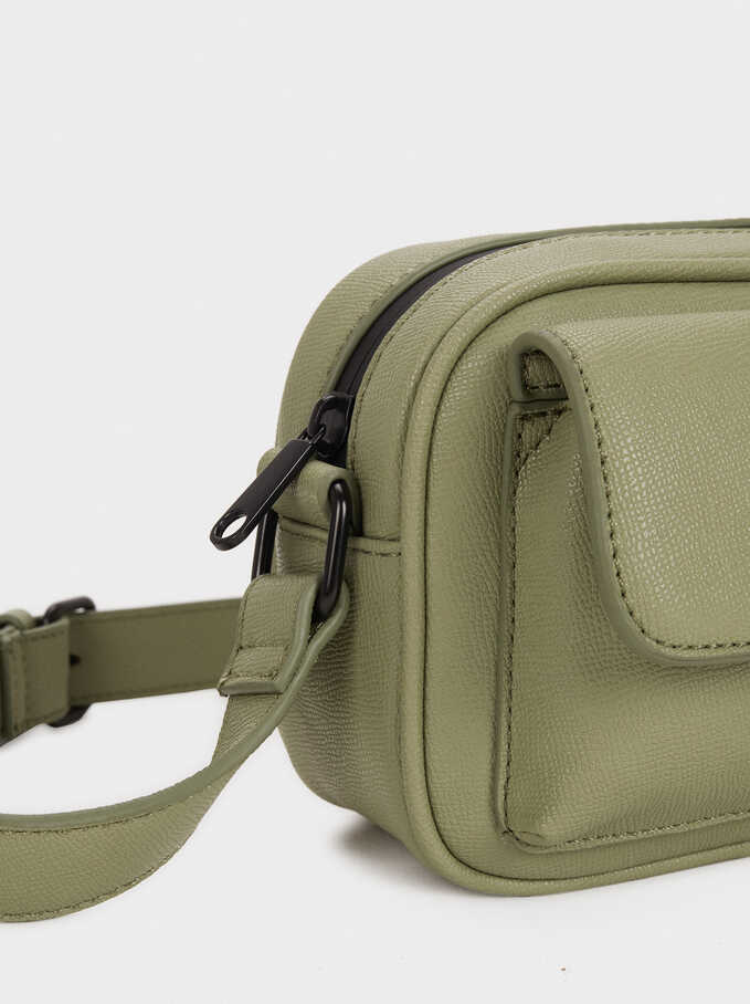 Shoulder Bag With Outer Pocket, Green, hi-res