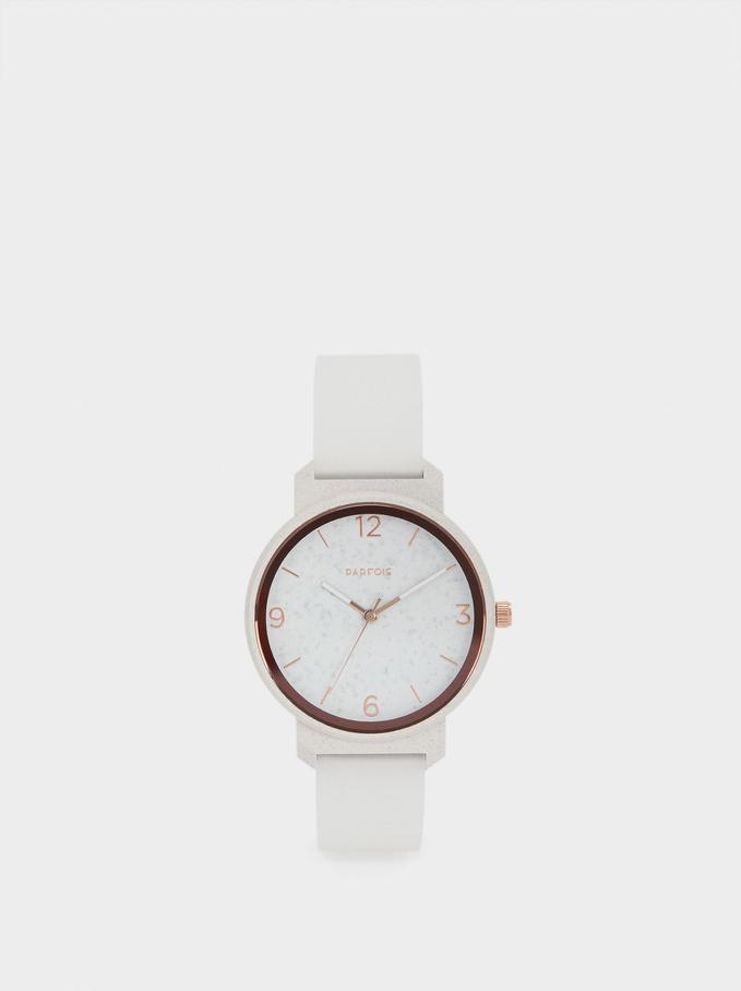 Orologio Cinturino In Silicone, Bianco, hi-res