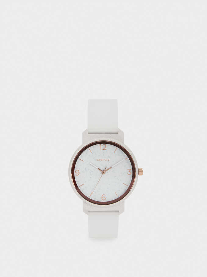 Watch With Silicone Wristband, White, hi-res