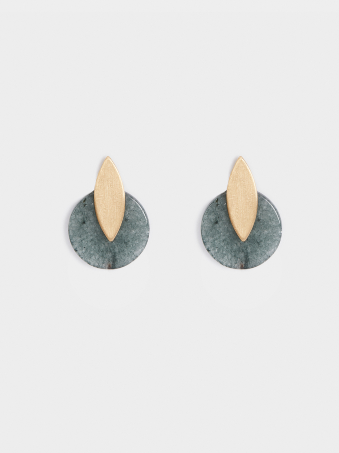 Stone Story Two-Tone Medium Earrings, Green, hi-res