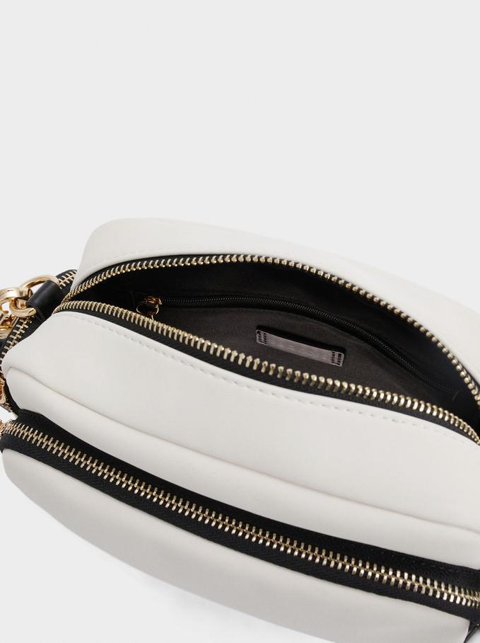 Textured Nylon Crossbody Bag, Ecru, hi-res