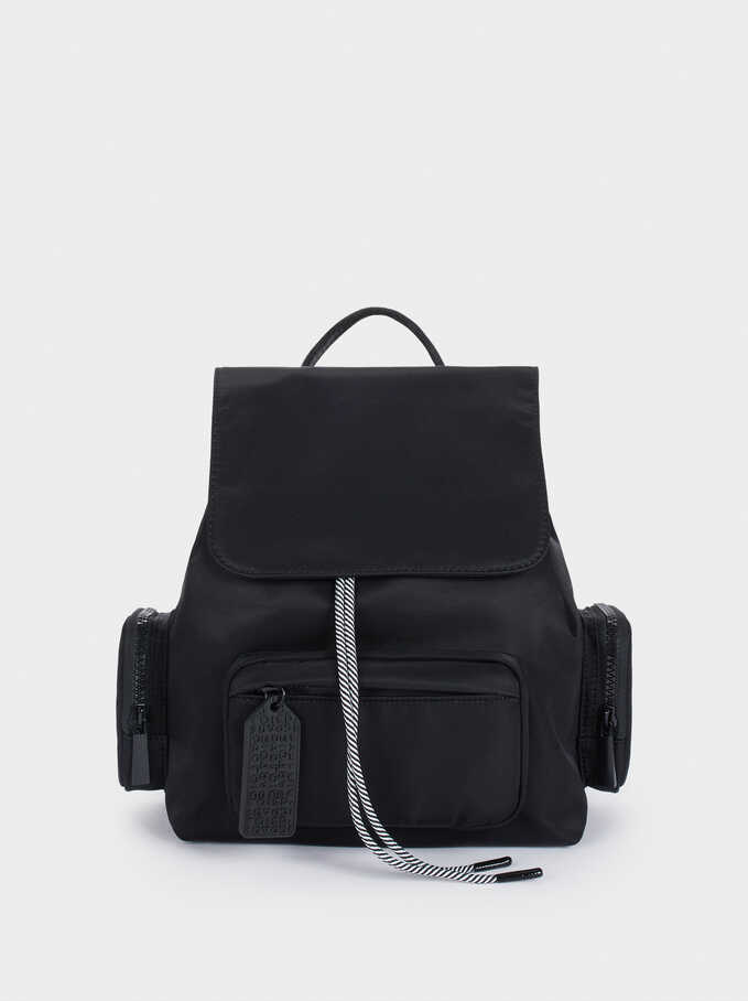 Nylon Backpack With Outside Pockets, , hi-res
