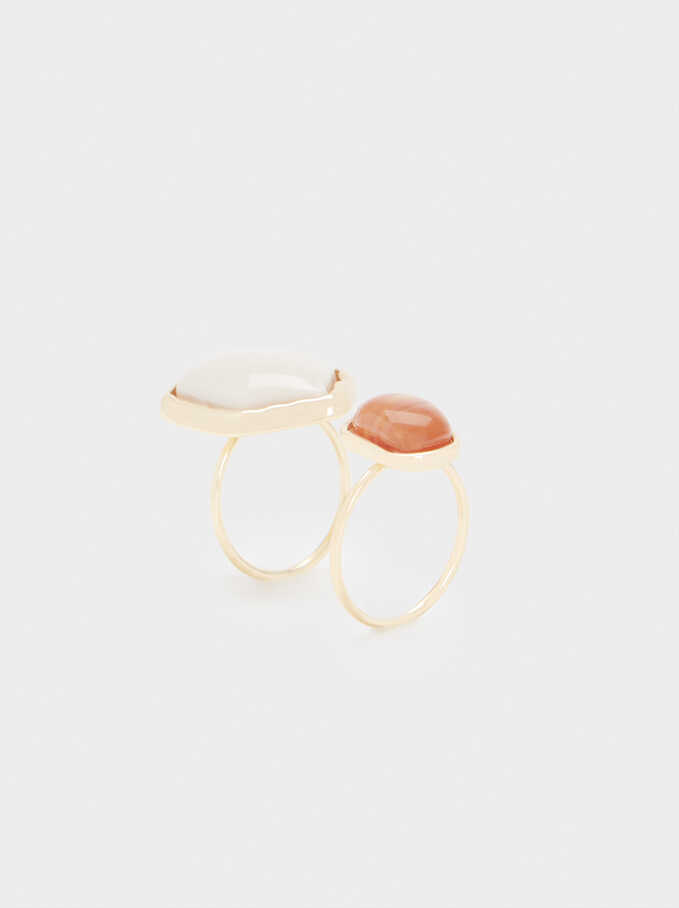 Geometric Ring Set, Camel, hi-res