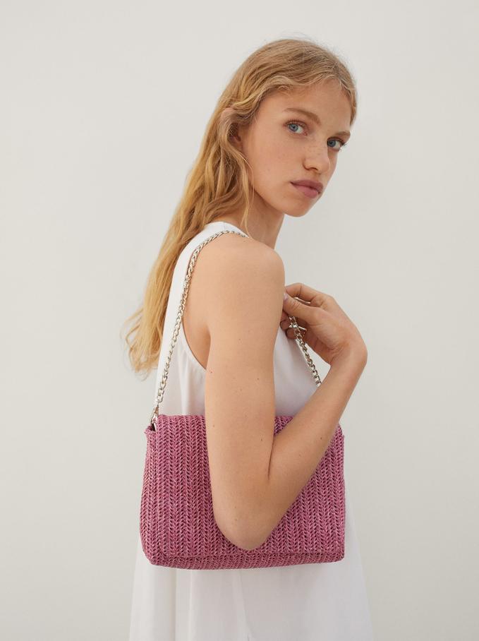 Woven Party Shoulder Bag, Pink, hi-res
