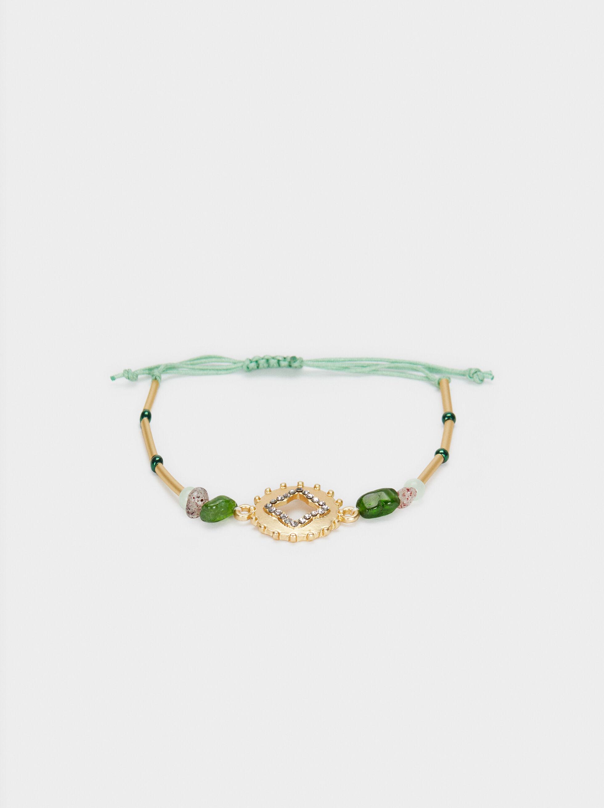 Adjustable Gold Bracelet With Stones, Multicolor, hi-res