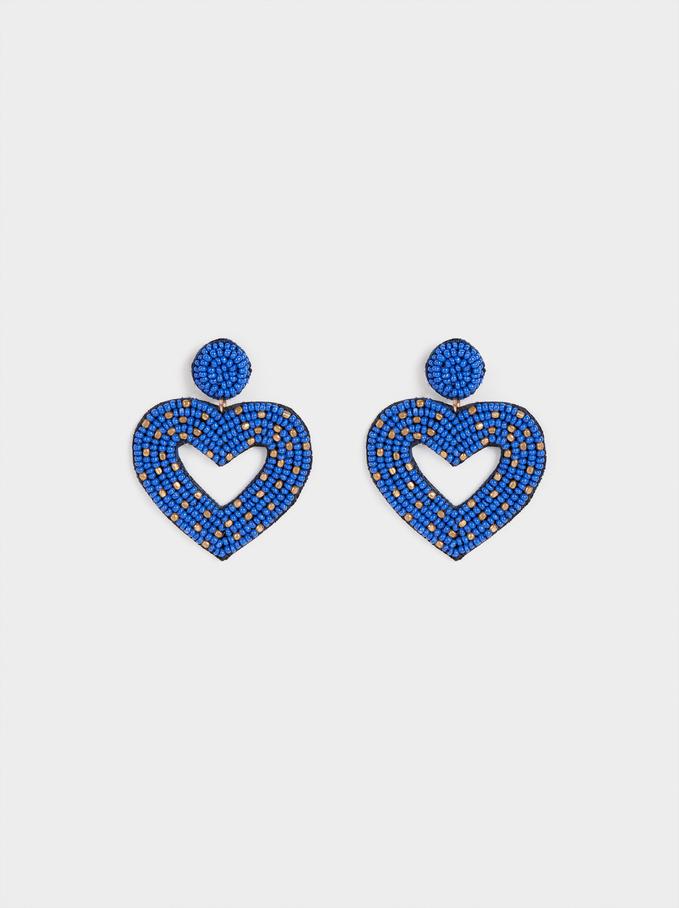 Boucles D'Oreilles Longues Cœur , Bleu, hi-res