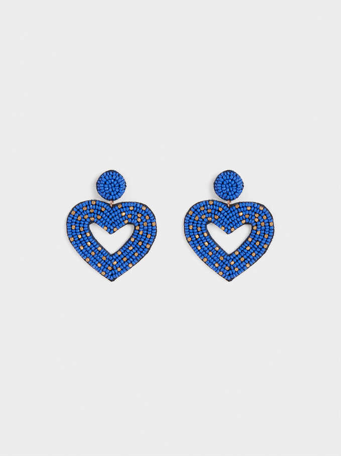 Long Earrings With Hearts , Blue, hi-res