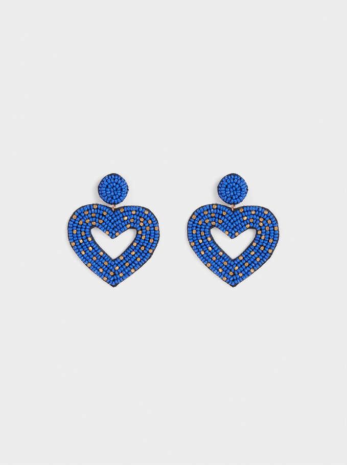Pendientes Largos Corazón , Azul, hi-res