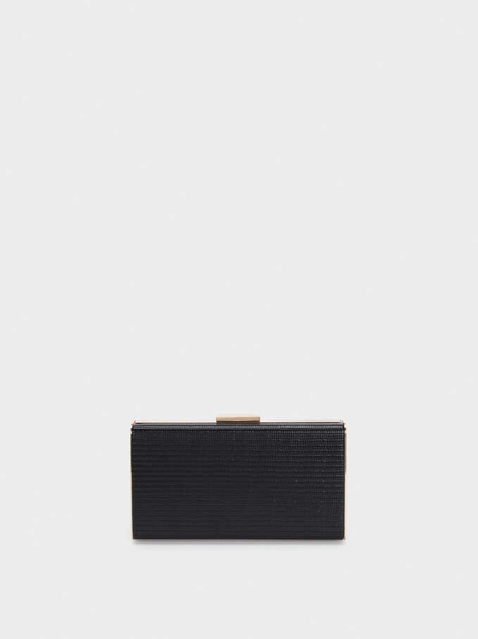 Clutch De Fiesta Grabado Animal, Negro, hi-res