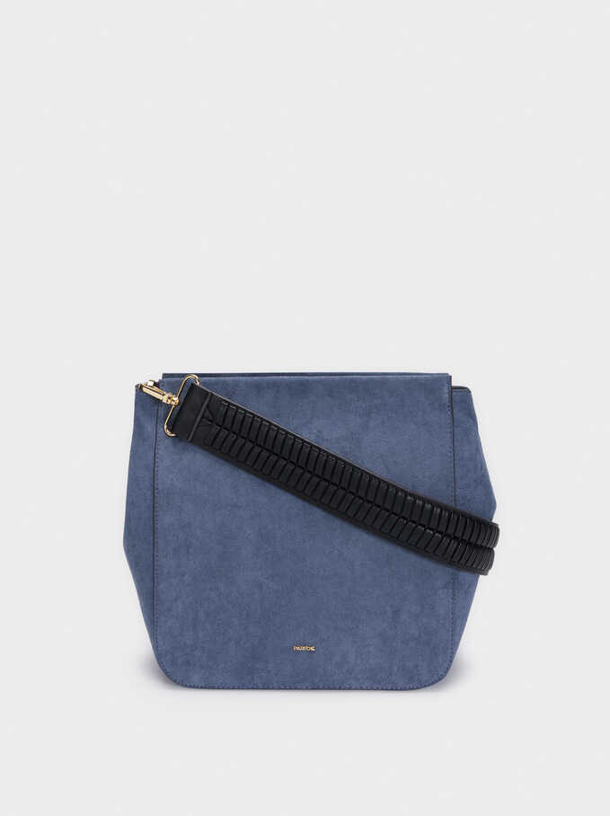 Faux Suede Shoulder Bag With Detachable Shoulder Strap, Blue, hi-res