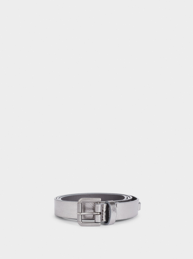 Plain Belt With Buckle, Silver, hi-res