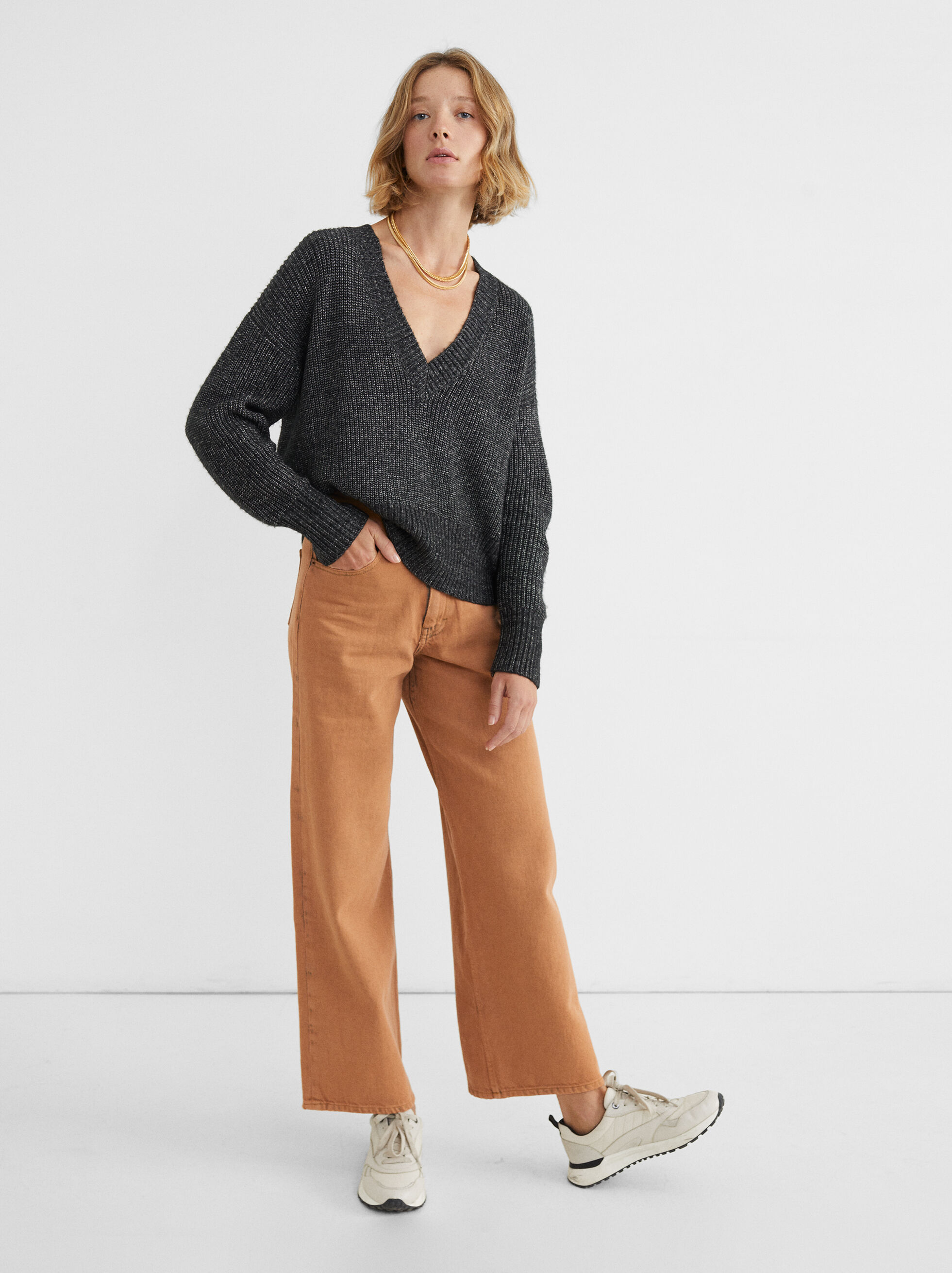 V-Neck Knit Sweater, , hi-res