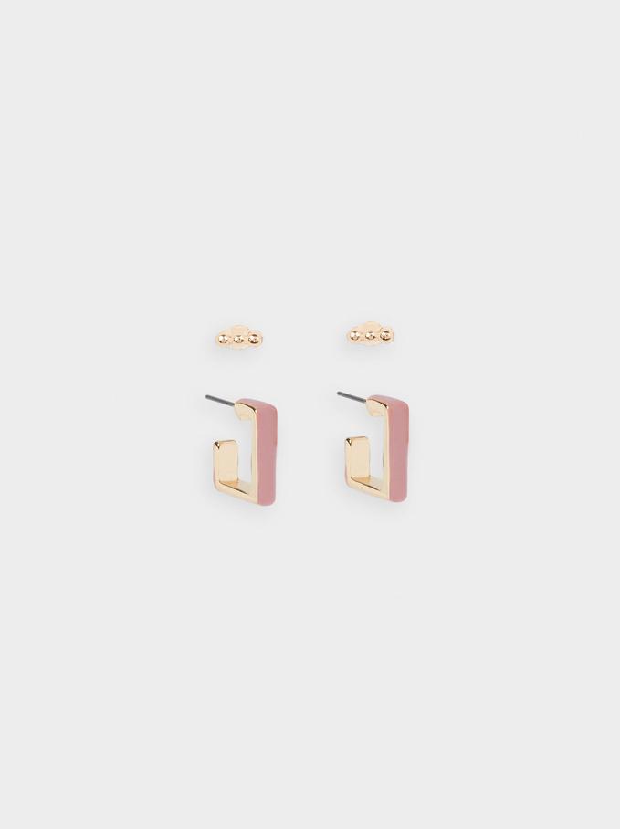 Square-Shaped Hoop Earrings Set, Pink, hi-res
