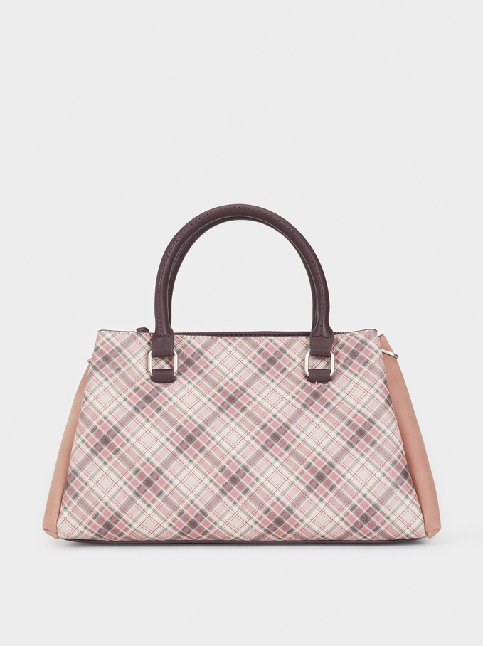 Large Check Print Bag, Pink, hi-res