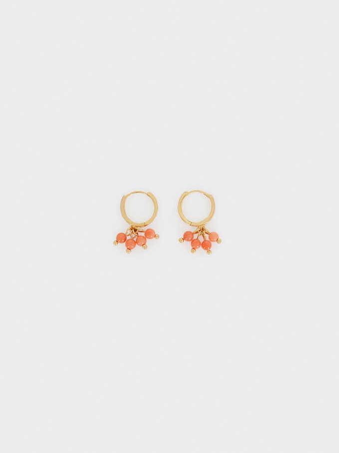 925 Silver Balls Hoop Earrings, Multicolor, hi-res