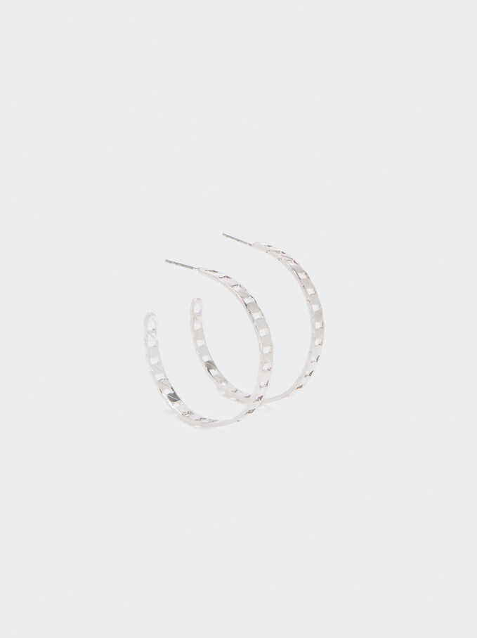 Gold Hoop Earrings , Silver, hi-res
