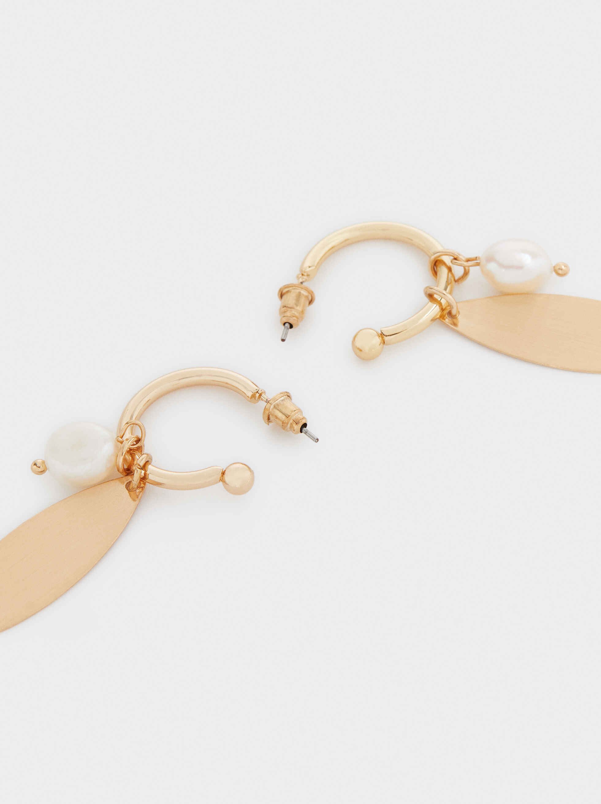 Large Gold Hoop Earrings With Faux Pearl Detail, Golden, hi-res