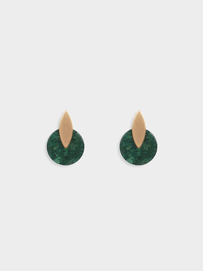 Geometric Earrings, Green, hi-res