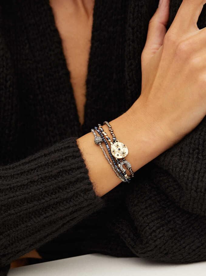 Set Of Elastic Bracelets With Crystals, Blue, hi-res